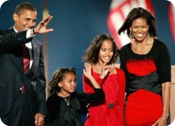 U.S. President elect Barack Obama walks on stage, with his wife Michelle and daughters Malia and Sasha to, address his supports during an election night gathering in Grant Park on November 4, 2008 in Chicago, Illinois. Obama defeated Republican nominee John McCain by a wide margin in the election to become the first African-American U.S. President elect. (Photo by Scott Olson/Getty Images)